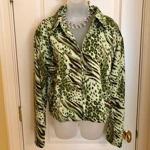 Frankly My Dear Jackets & Coats - Green Jacket FRANKLY MY DEAR Animal Print Shimmer